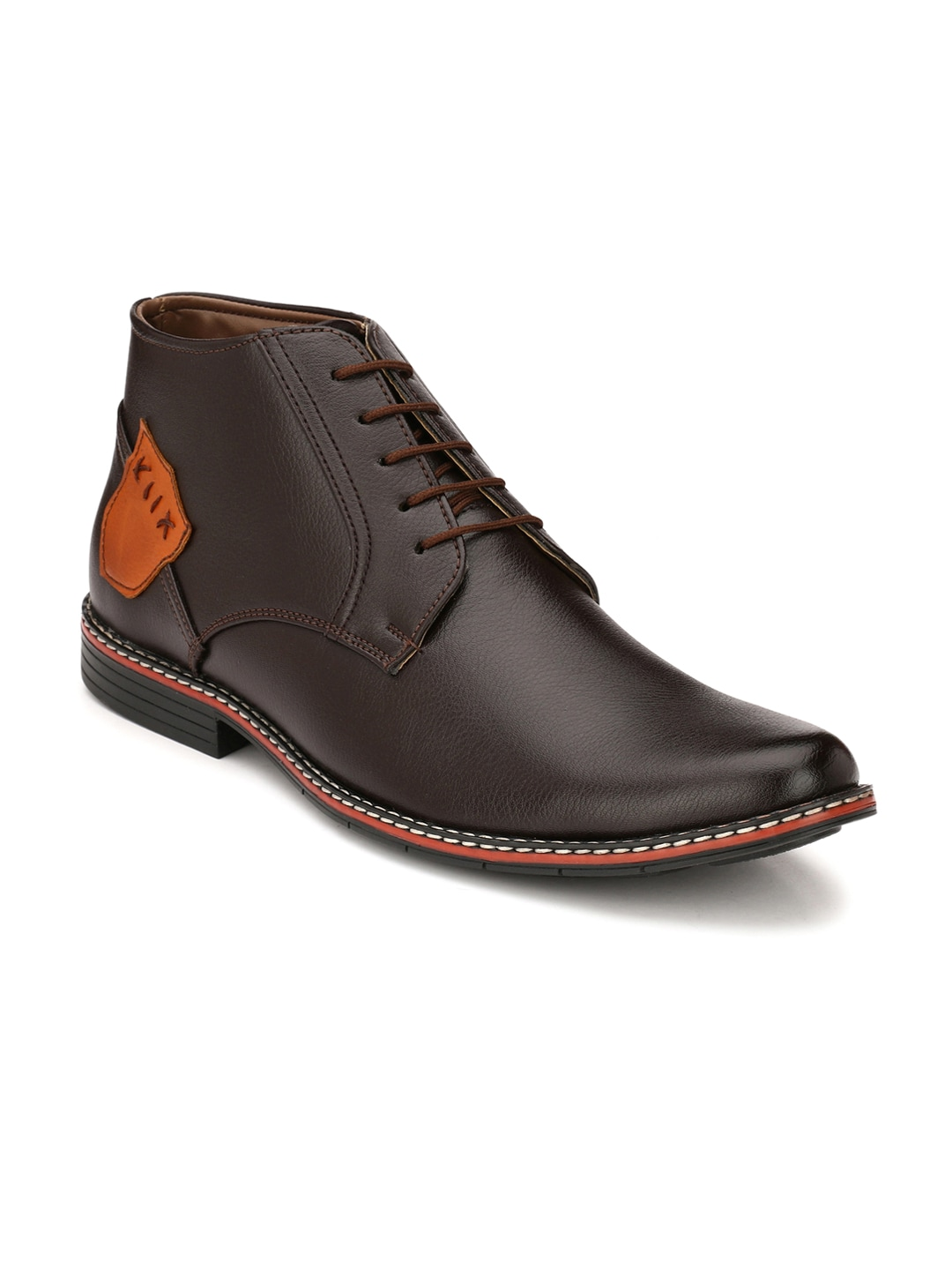 John Karsun Men Brown Solid Mid-Top Flat Boots image