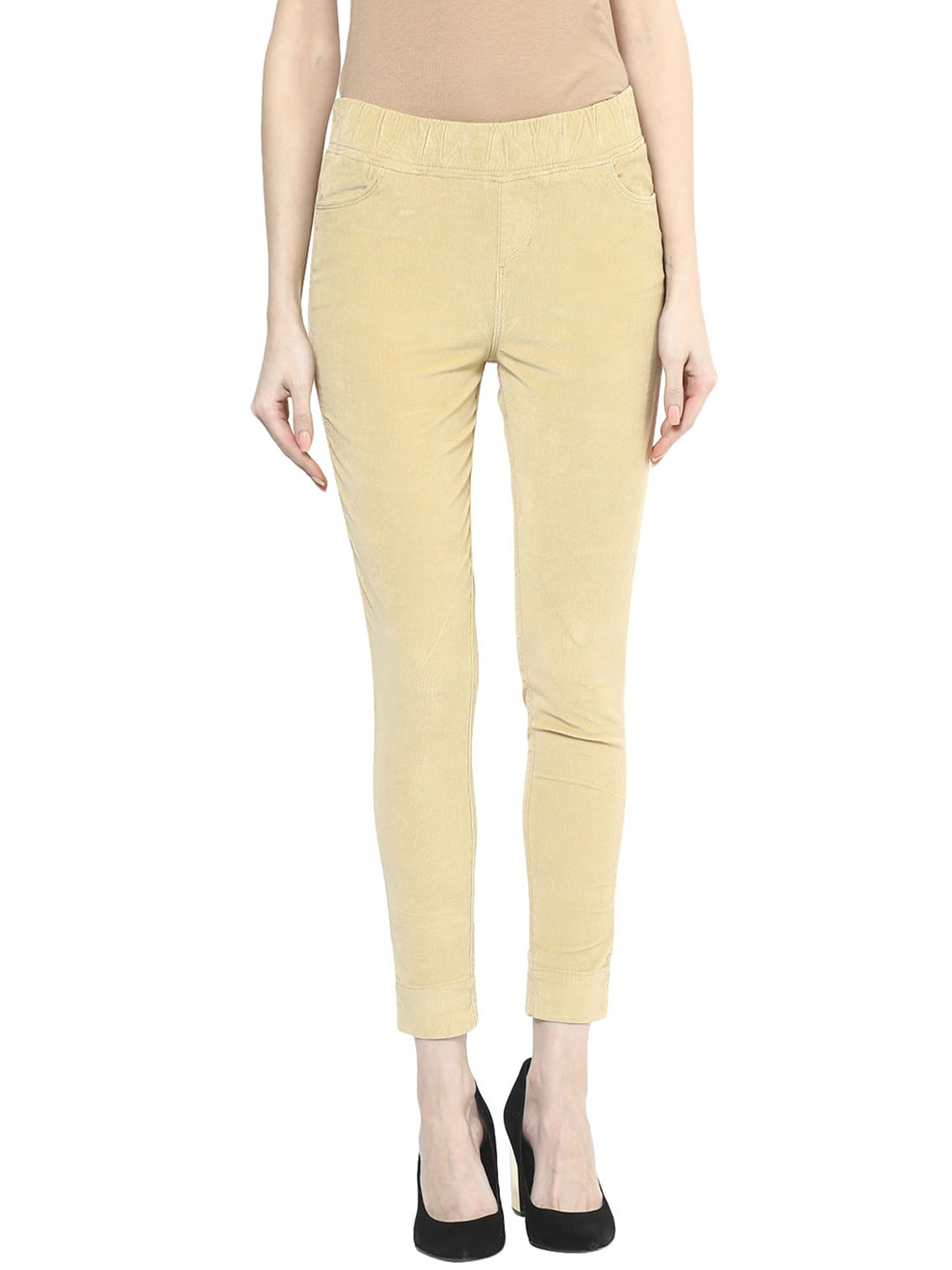 Xpose Beige Relaxed Fit Corduroy Jeggings image
