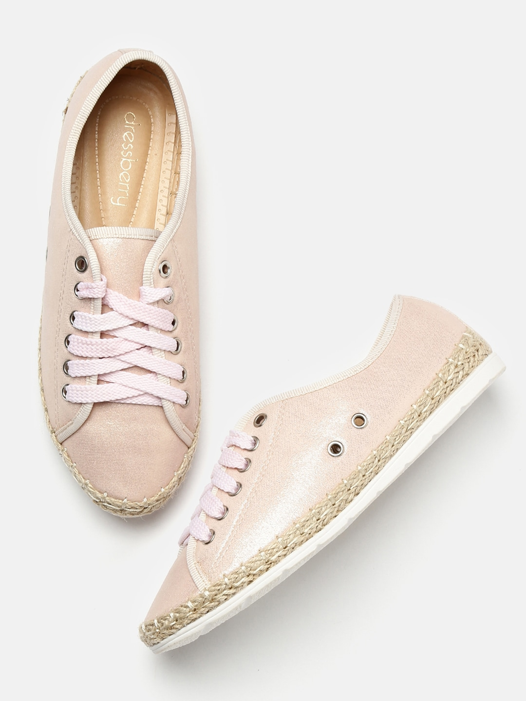 DressBerry Women Peach Shimmer Sneakers image