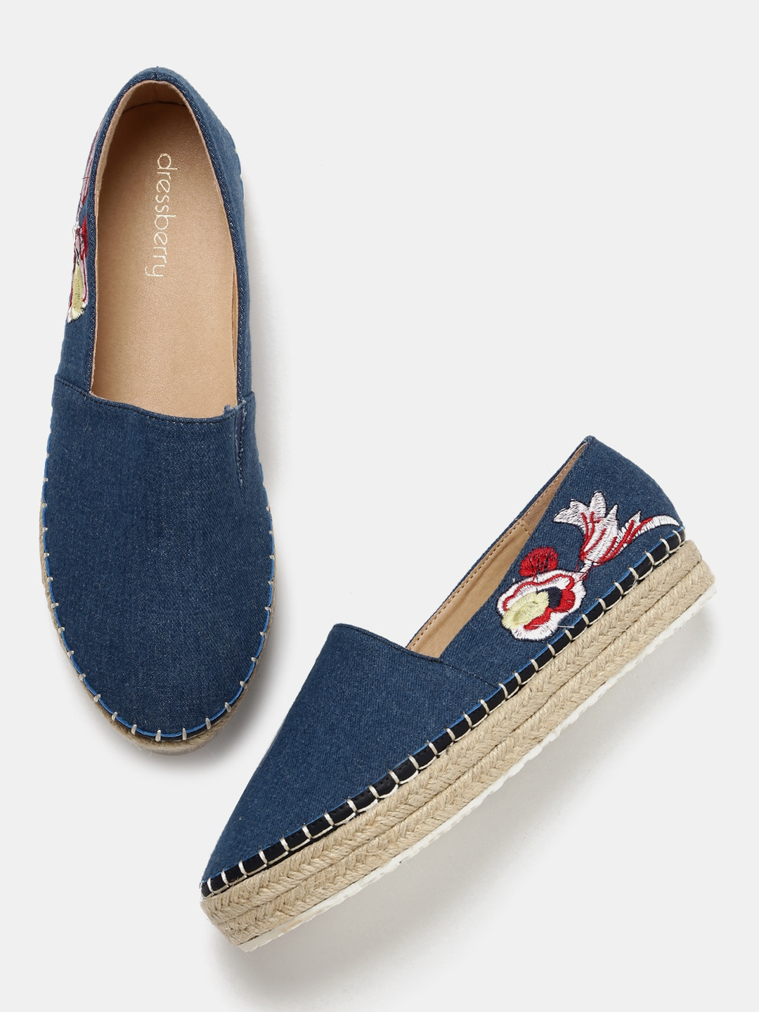 DressBerry Women Blue Embroidered Slip-On Sneakers image