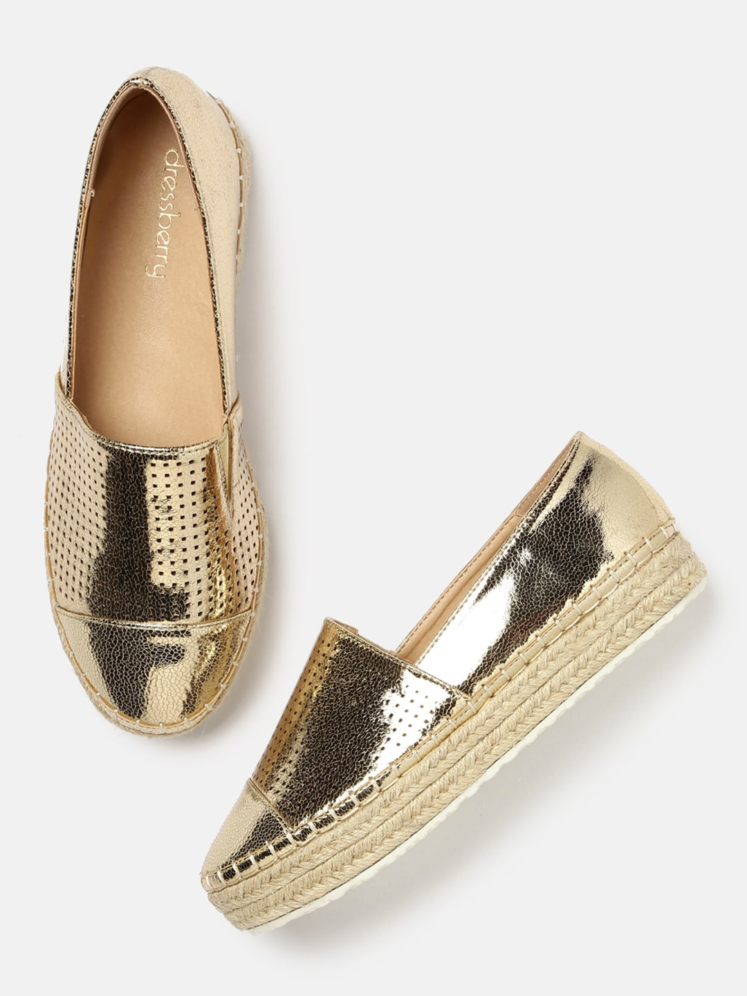 DressBerry Women Gold-Toned Espadrilles image