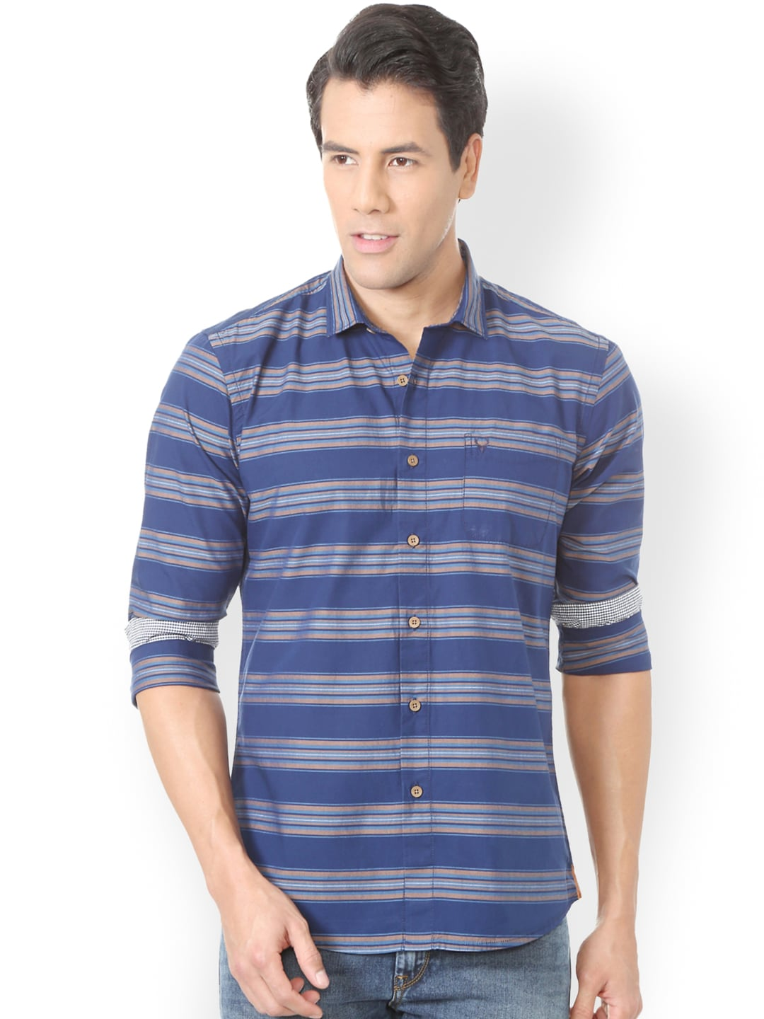 Solly Jeans Co. by Allen Solly Men Blue & Grey Regular Fit Striped Casual Shirt image