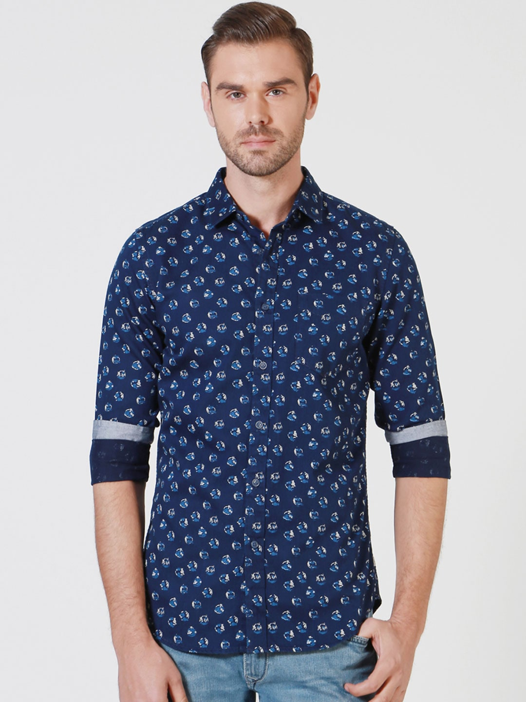 Solly Jeans Co. by Allen Solly Men Blue Regular Fit Printed Casual Shirt image