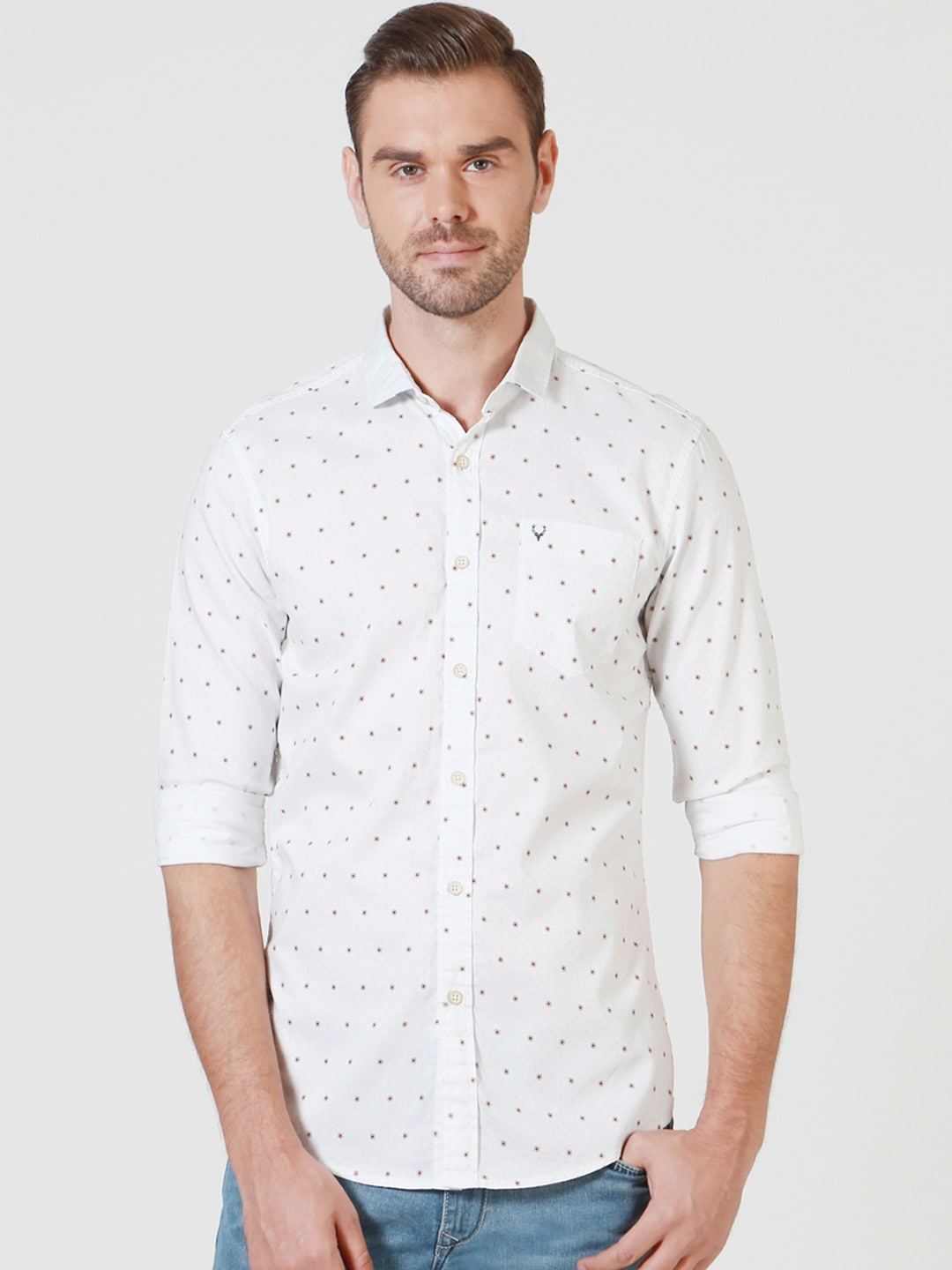 Solly Jeans Co. Men White Regular Fit Printed Casual Shirt image