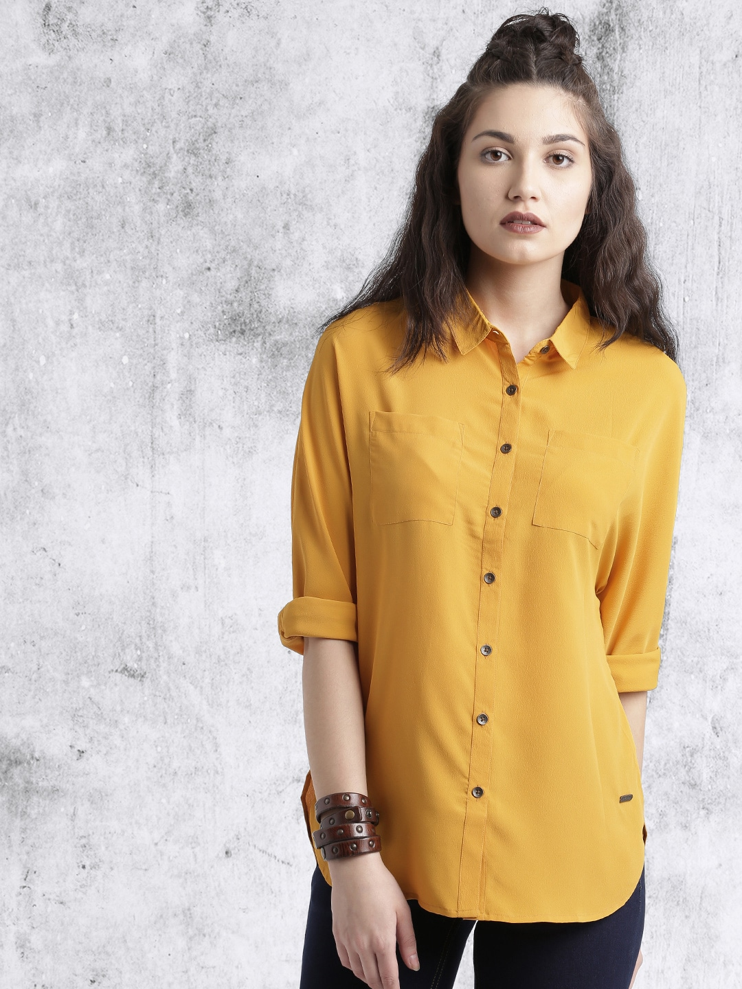Roadster Mustard Casual Women Shirt