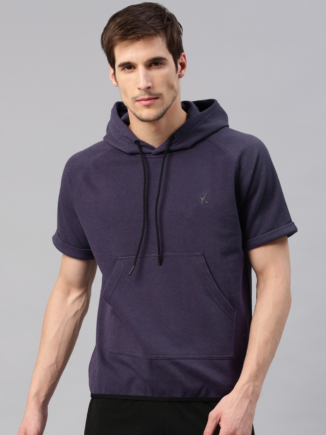 Buy HRX by Hrithik Roshan Purple Solid Hooded Men's Sweatshirt At Best Price