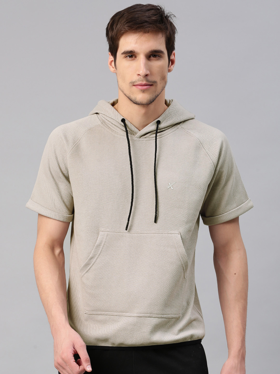 Buy HRX by Hrithik Roshan Grey Self Design Hooded Men's Sweatshirt At Best Price