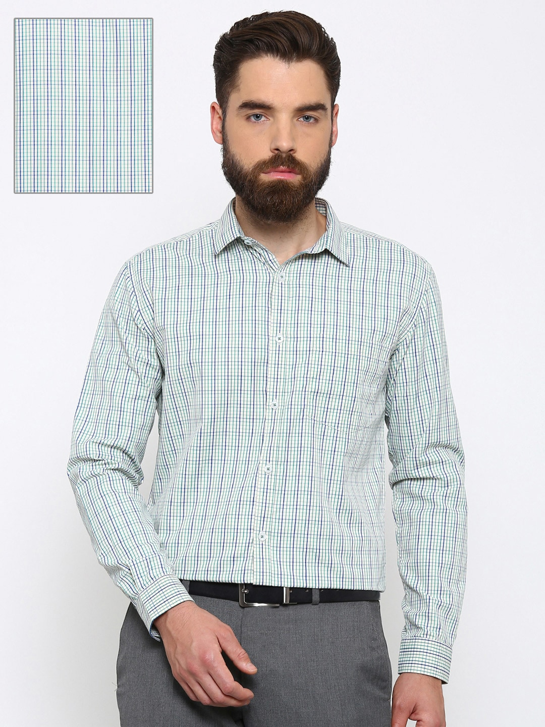 Independence Men Yellow & Green Slim Fit Checked Formal Shirt image