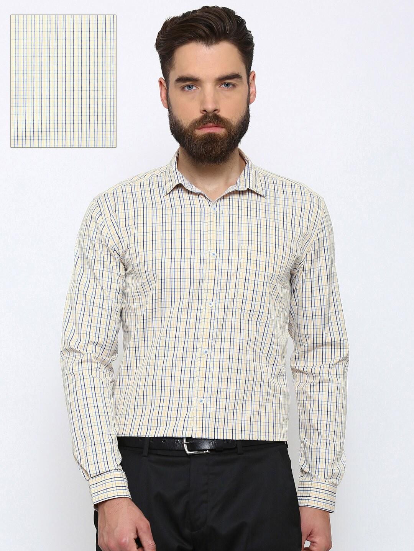 Independence Men Beige & Blue Slim Fit Checked Formal Shirt image