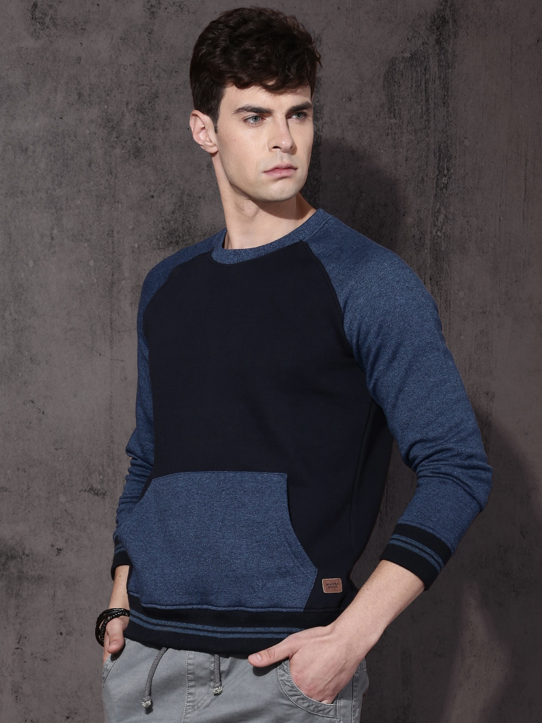 Roadster Men Navy Blue Colourblocked Sweatshirt image