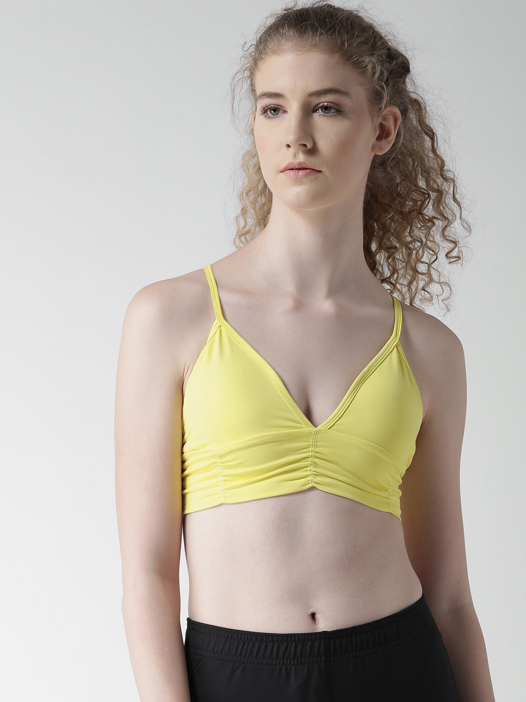 FOREVER 21 Yellow Solid Non-Wired Lightly Padded Sports Bra 205892 image
