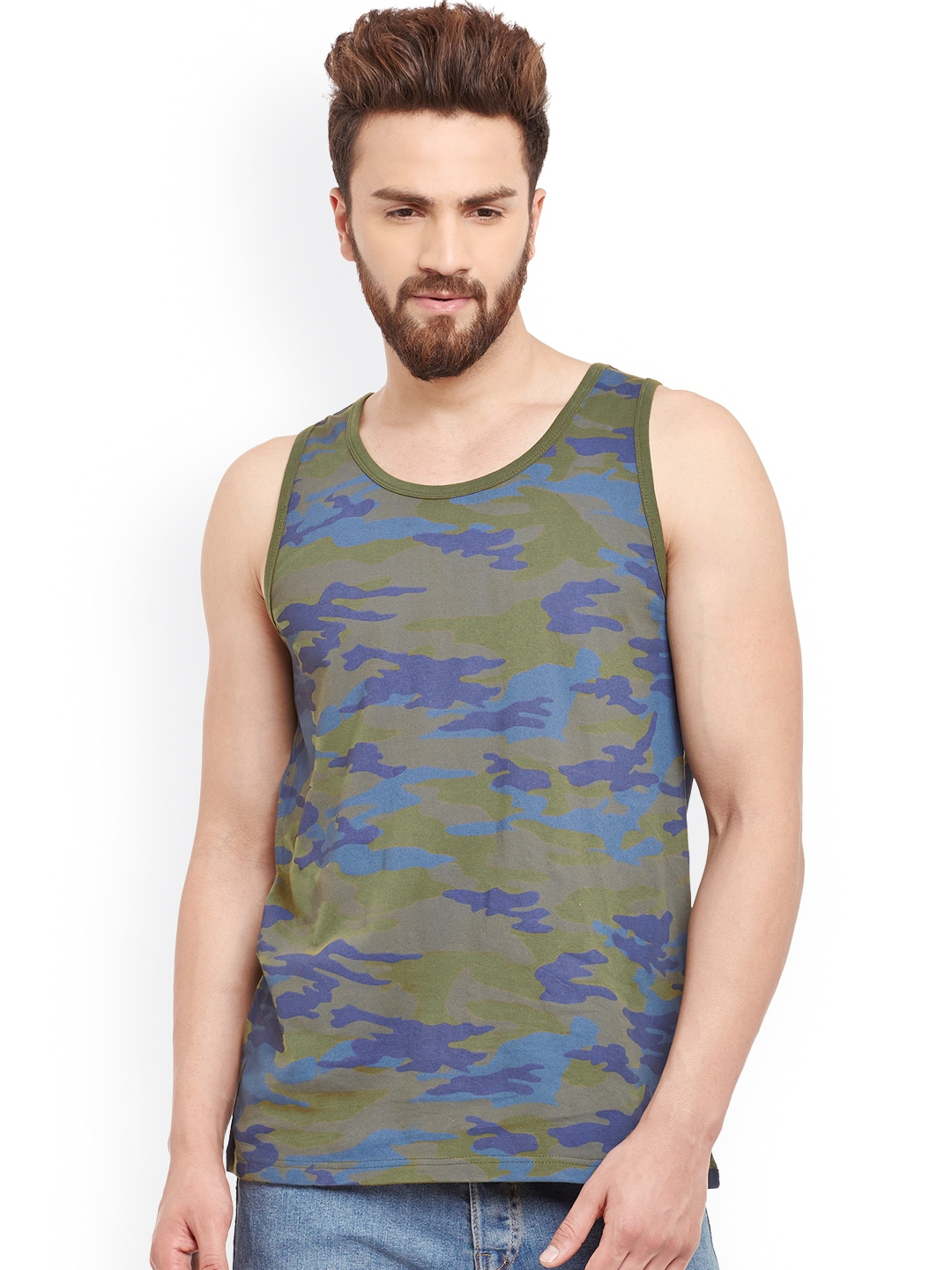 GRITSTONES Olive Green Camouflage Print Innerwear Vest GSVSTARMYPNTOGRN image