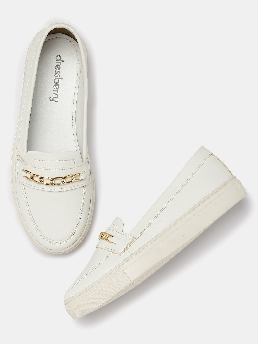DressBerry Women White Slip-On Sneakers Price in India