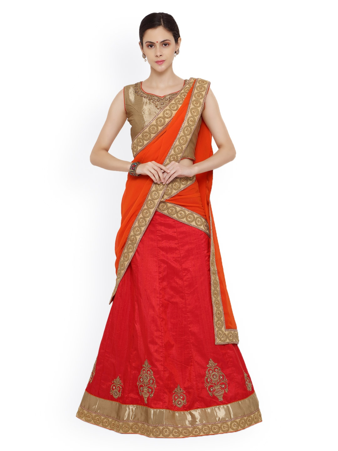 RIYA Red & Orange Silk Embroidered Lehenga Choli with Dupatta image