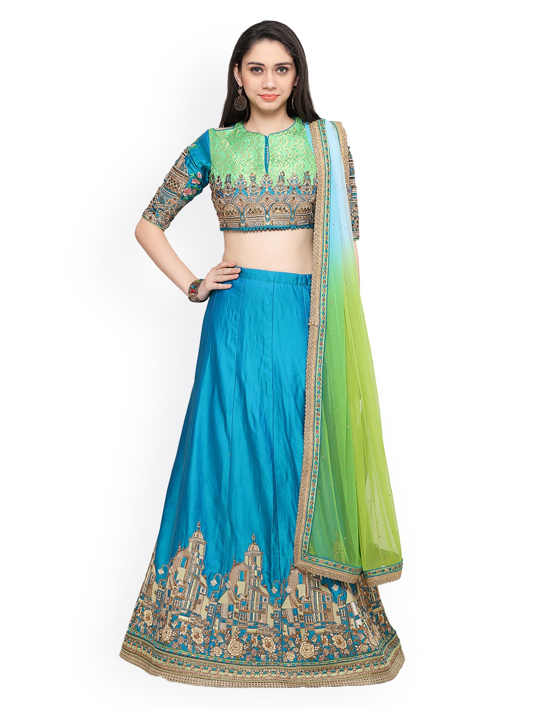RIYA Blue & Green Embroidered Semi-Stictched Lehenga Choli with Dupatta image