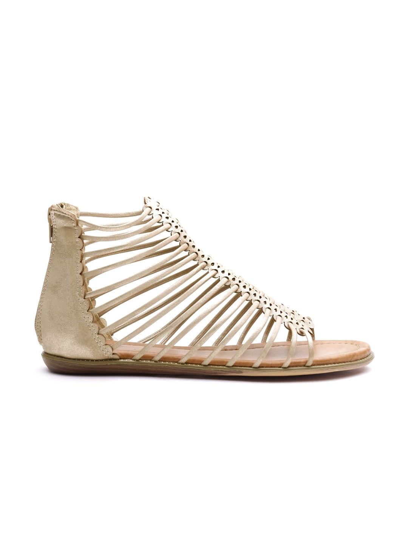 Carlton London Women Gold-Toned Woven Design Gladiators image