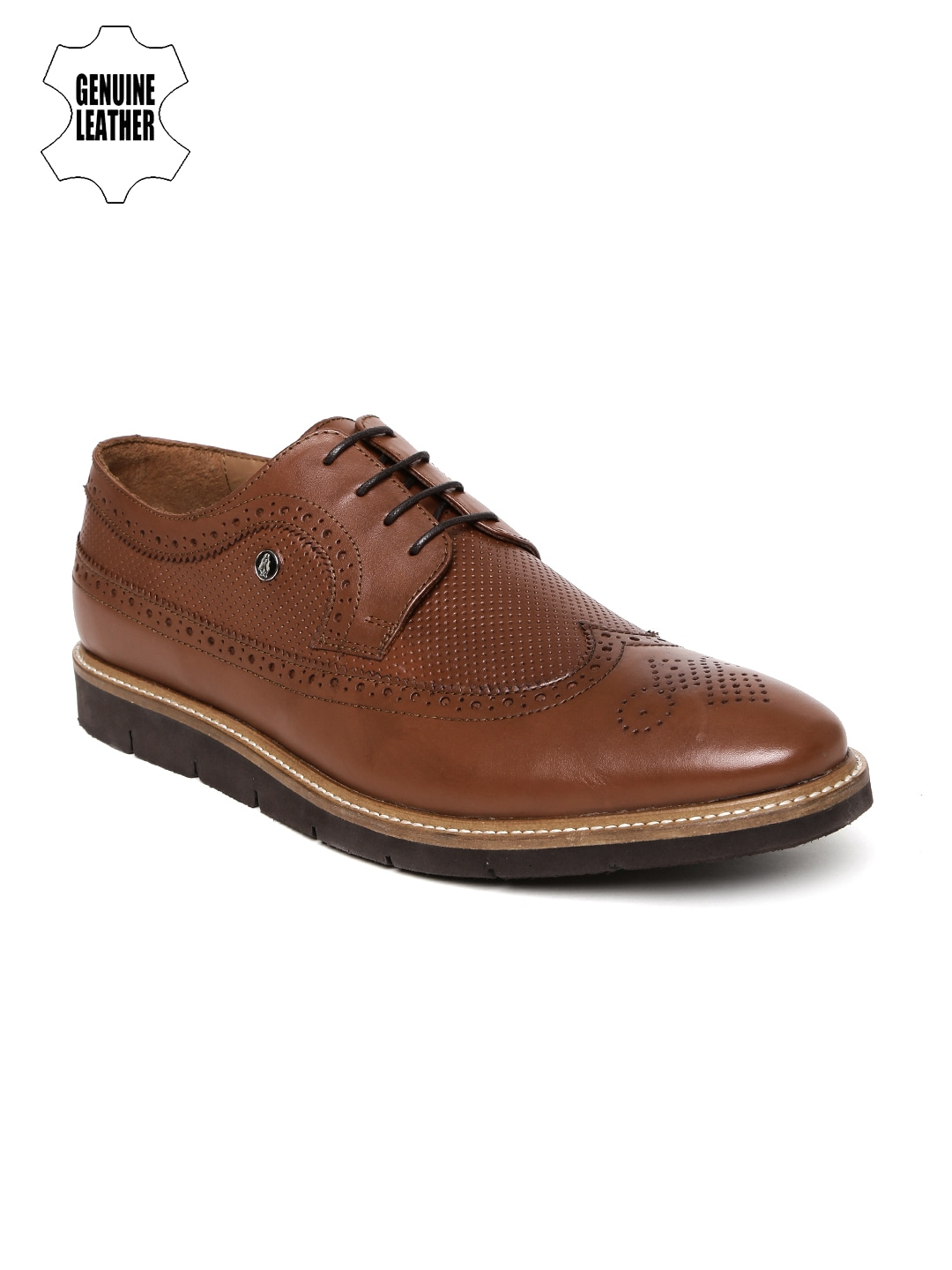 Hush Puppies Men Tan Genuine Leather Brogues image