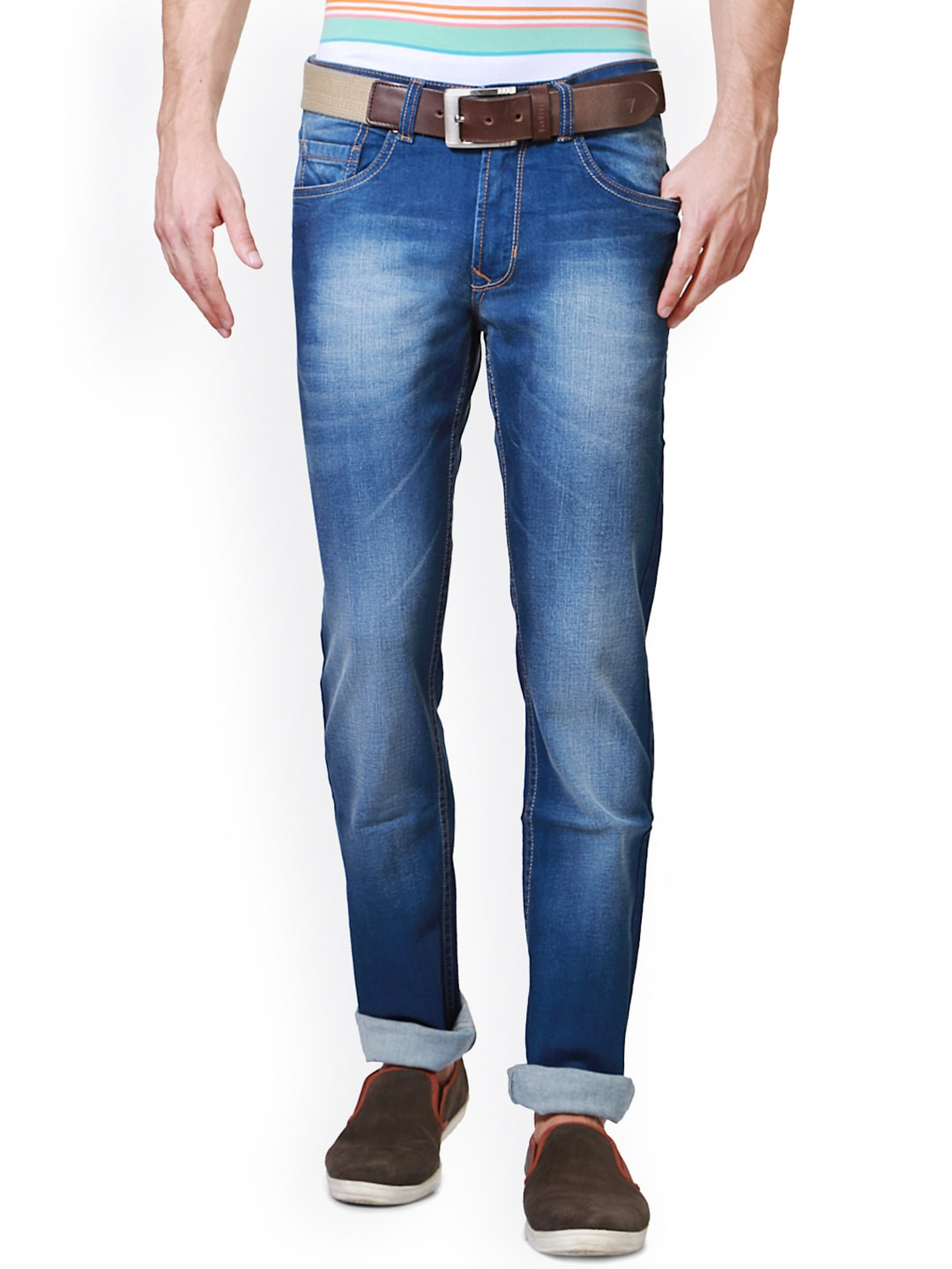 Peter England Men Blue Slim Fit Clean Look Jeans image