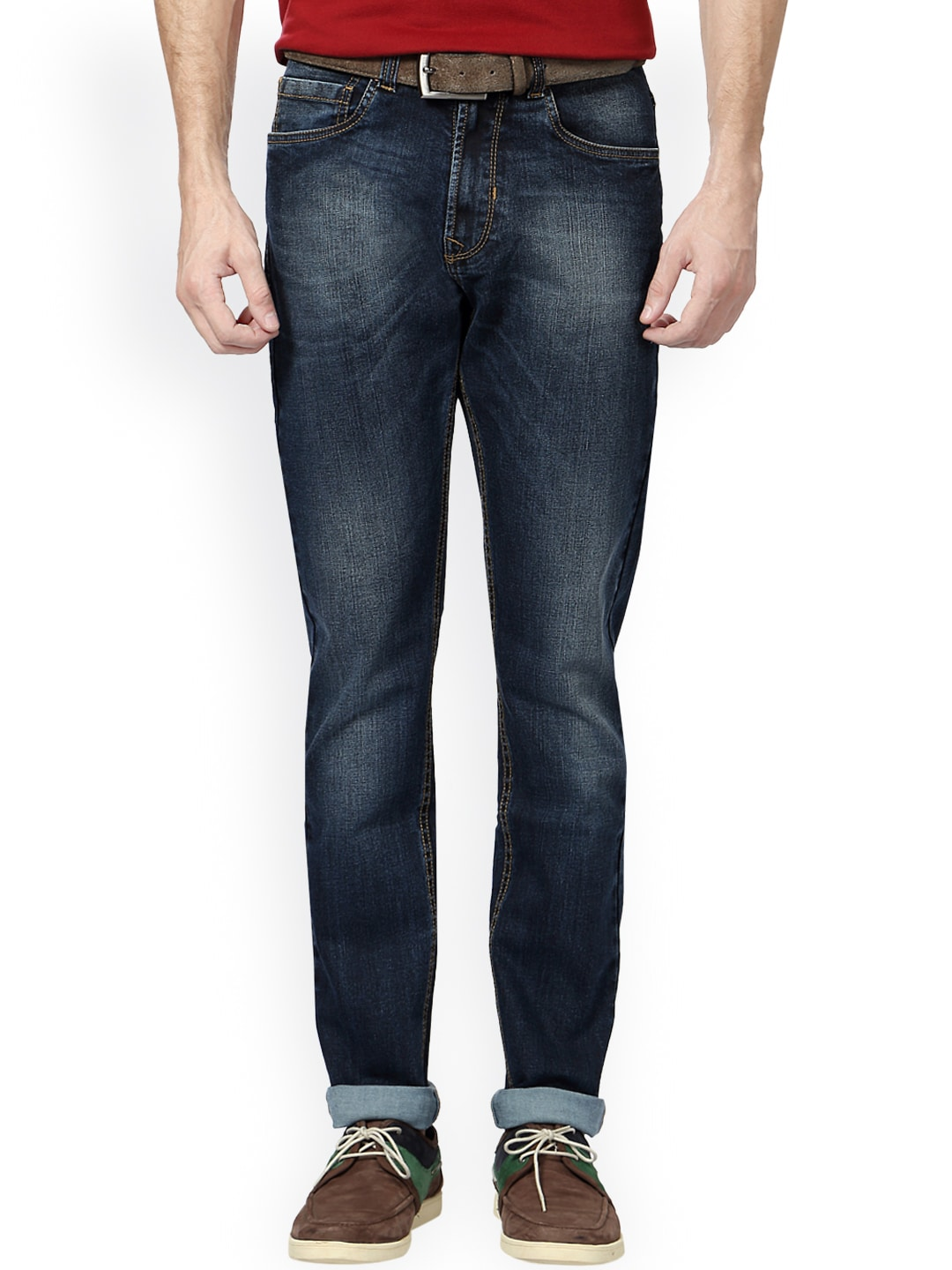 Peter England Men Blue Tapered Fit Mid-Rise Clean Look Jeans image