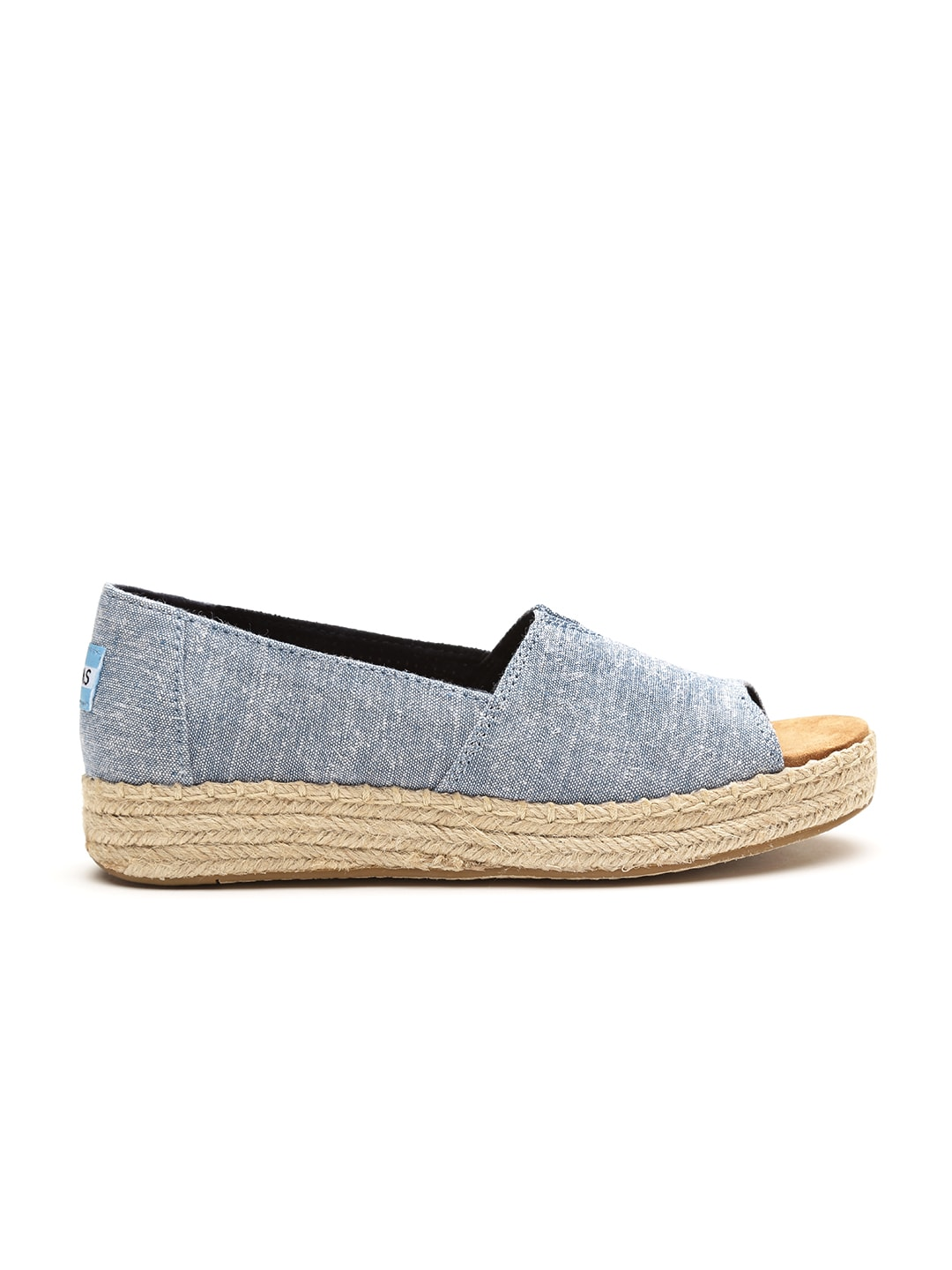 TOMS Women Blue Chambray Peep-Toed Espadrilles image