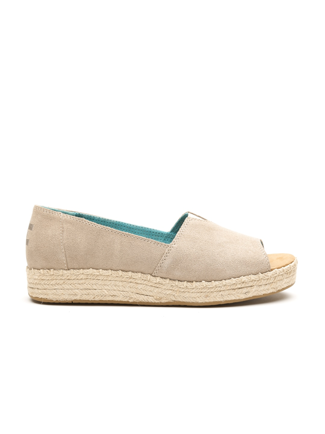 TOMS Women Taupe Suede Peep-Toed Espadrilles image