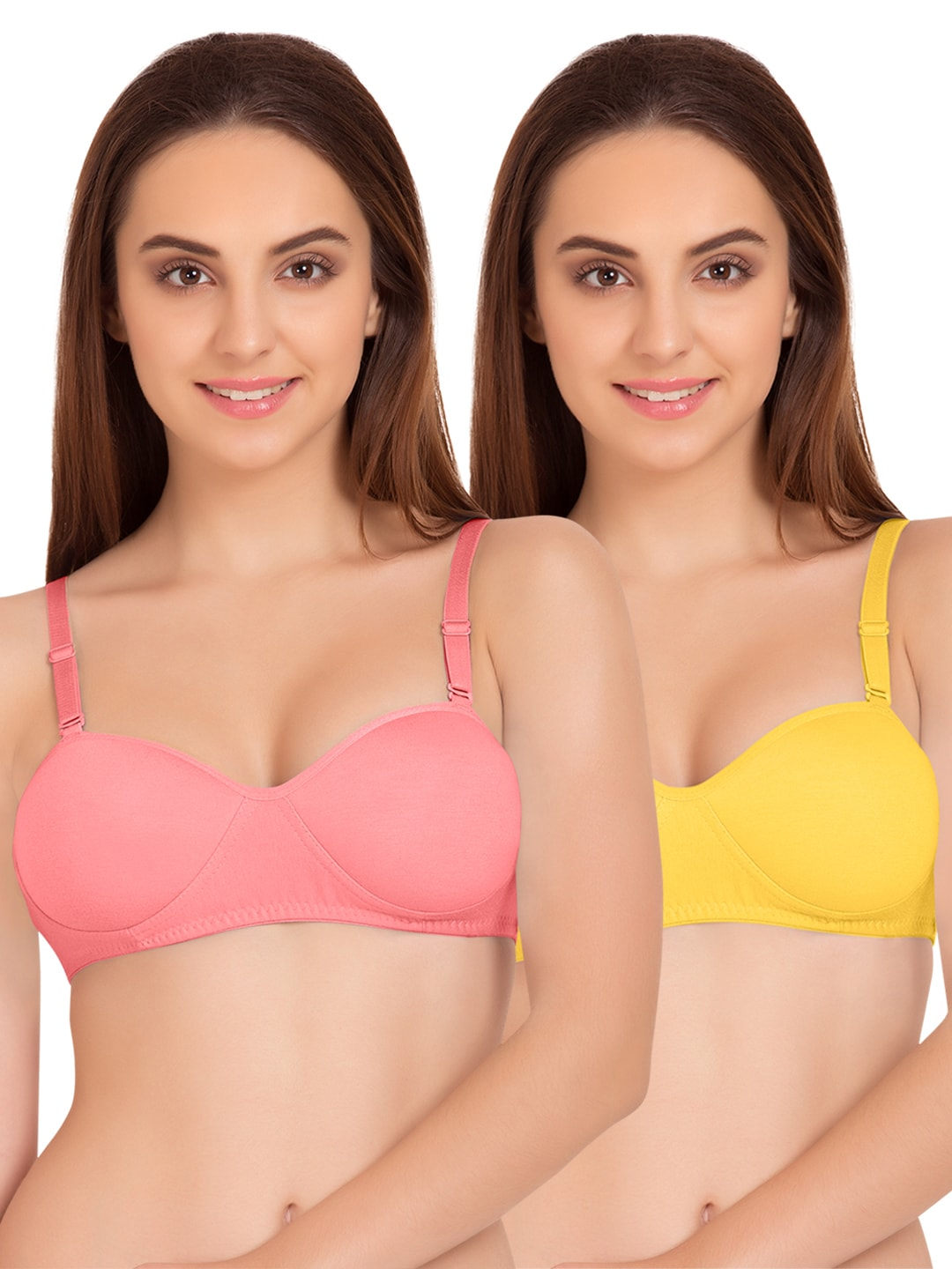 Tweens Set of 2 Coral & Yellow Non-Wired T-shirt Bras TW91201 image