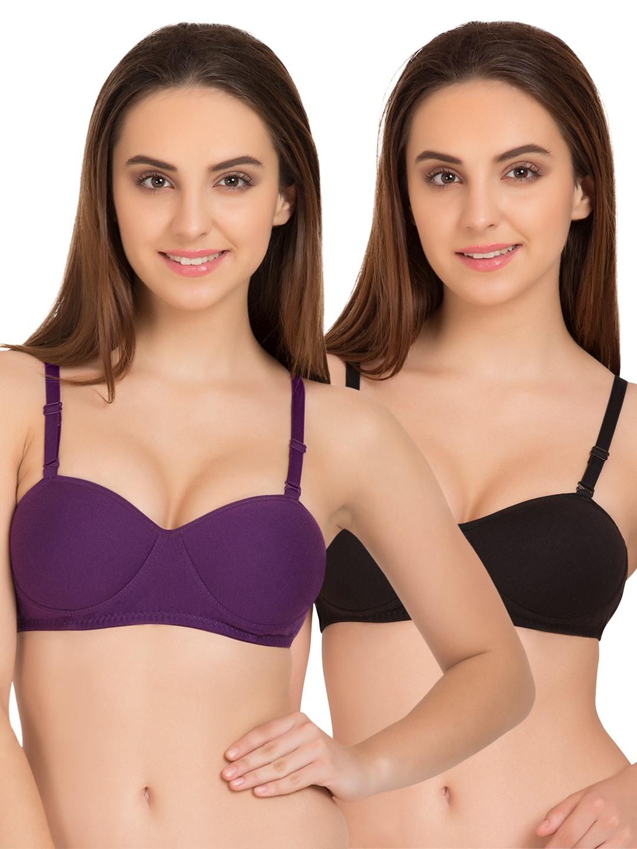 Tweens Set of 2 Purple & Black Non-Wired T-shirt Bras TW91201DPR image
