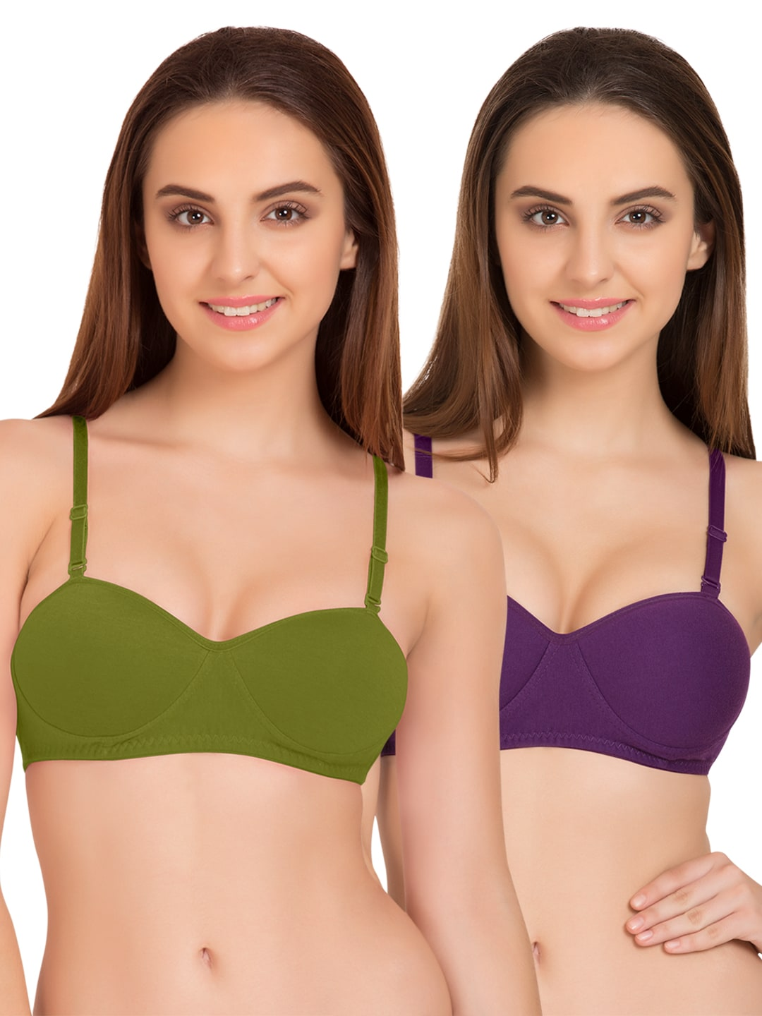 Tweens Set of 2 Olive Green & Purple Non-Wired T-shirt Bras TW91201 image