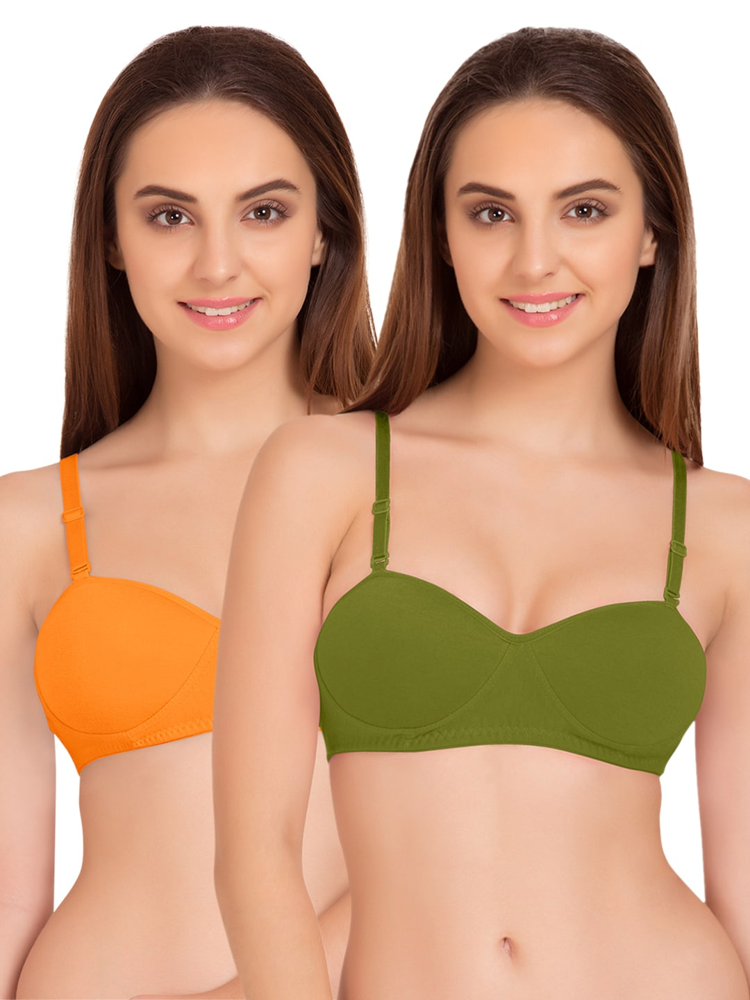 Tweens Pack of 2 Padded T-shirt Bras TW91201ORG-2PC-OLV image