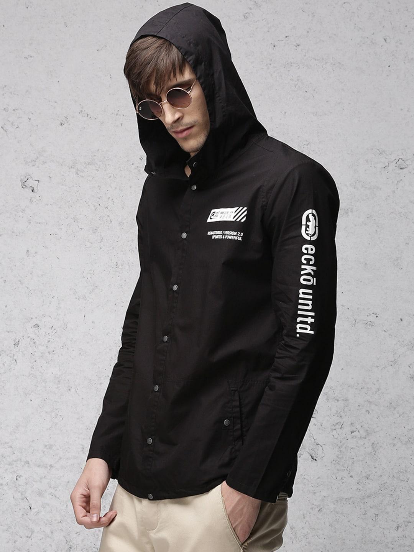 Ecko Unltd Men Black Solid Bomber Hooded Shacket image