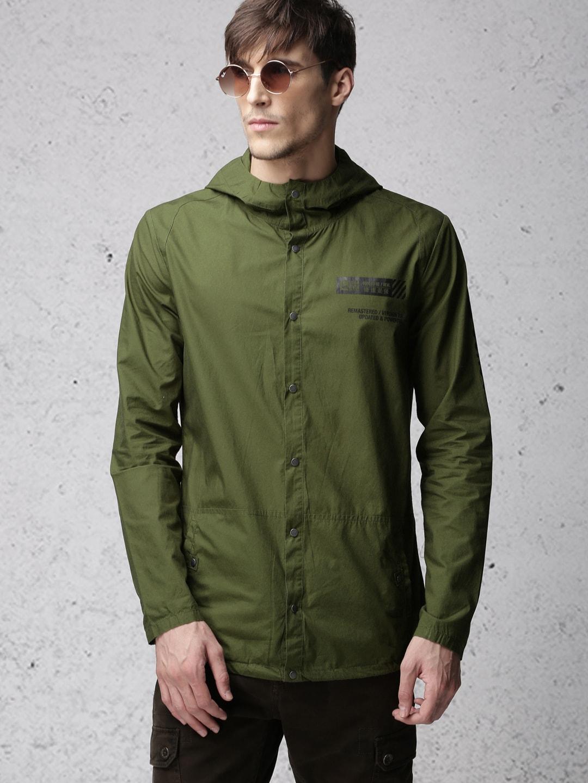 Ecko Unltd Men Olive Green Solid Bomber Hooded Shacket image