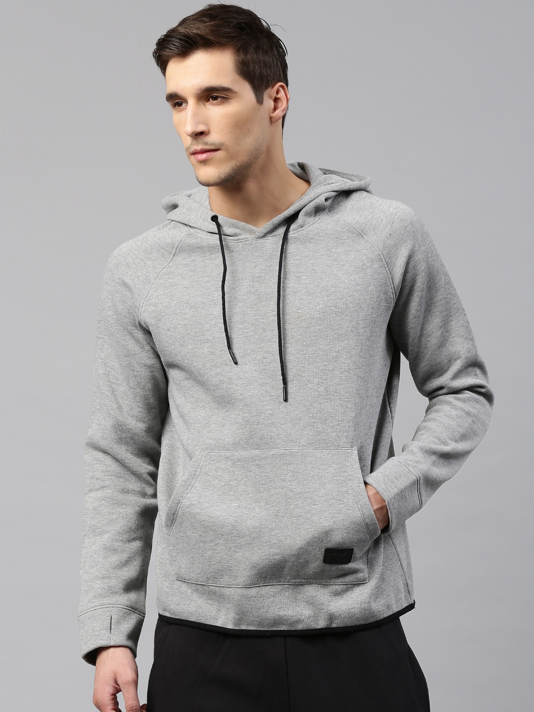 Buy HRX by Hrithik Roshan Grey Melange Solid Hooded Men's Sweatshirt At Best Price