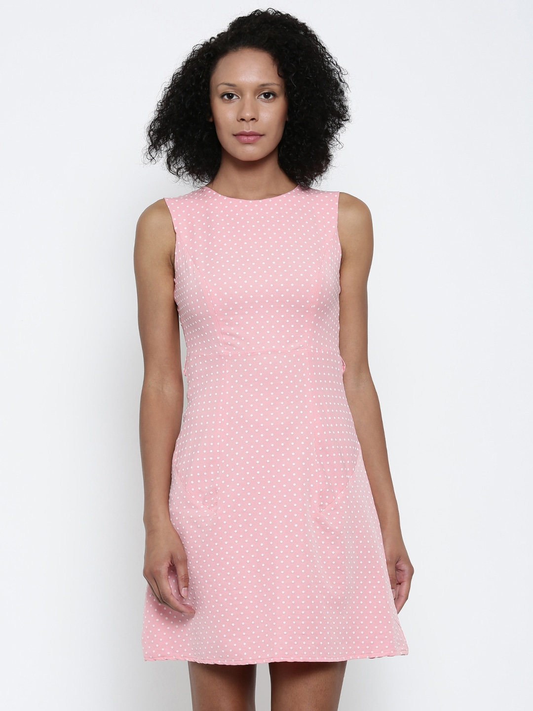 Park Avenue Woman Pink Printed Fit & Flare Dress image