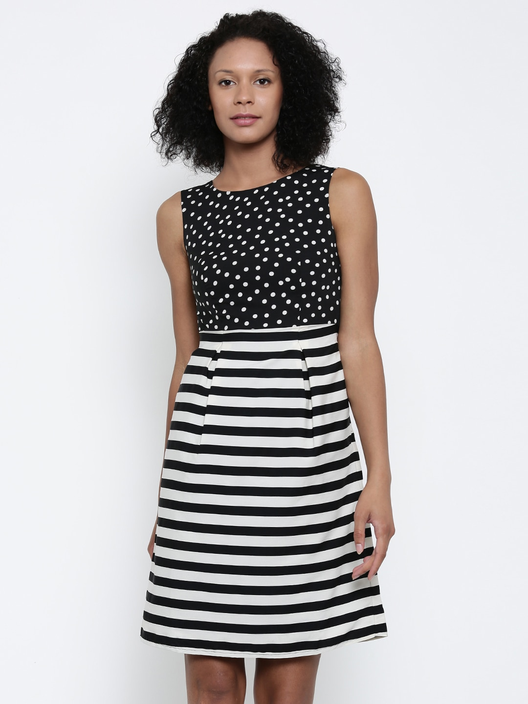 Park Avenue Woman Black & Off-White Striped Fit & Flare Dress image