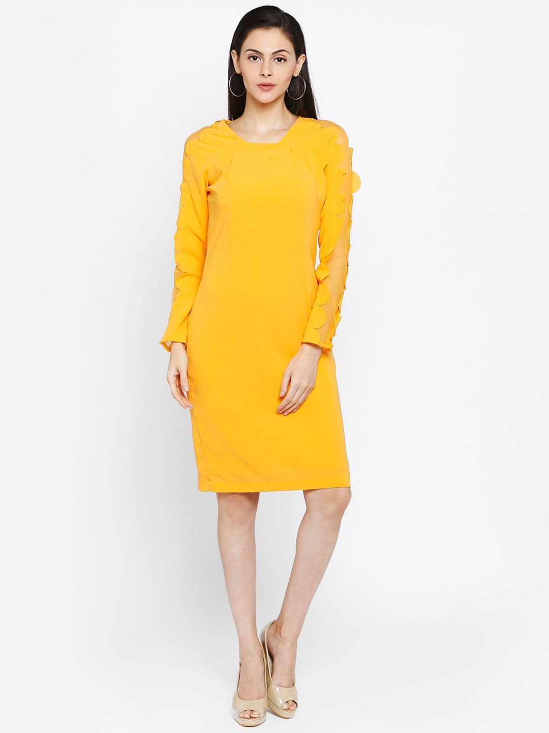 Park Avenue Woman Yellow Solid Sheath Dress image