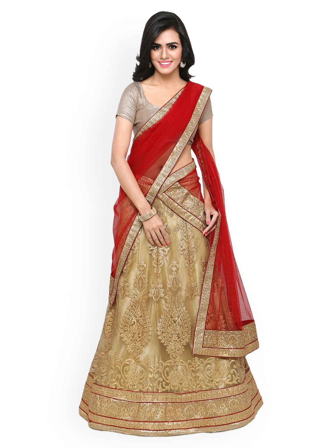 Rajesh Silk Mills Gold-Toned & Beige Embroidered Unstitched Lehenga Choli with Dupatta image