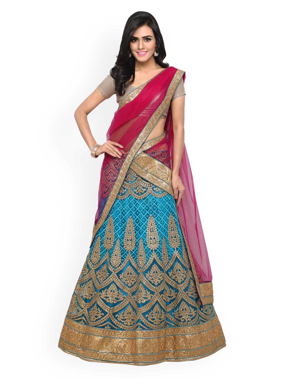 Rajesh Silk Mills Blue & Beige Embroidered Unstitched Lehenga Choli with Dupatta image