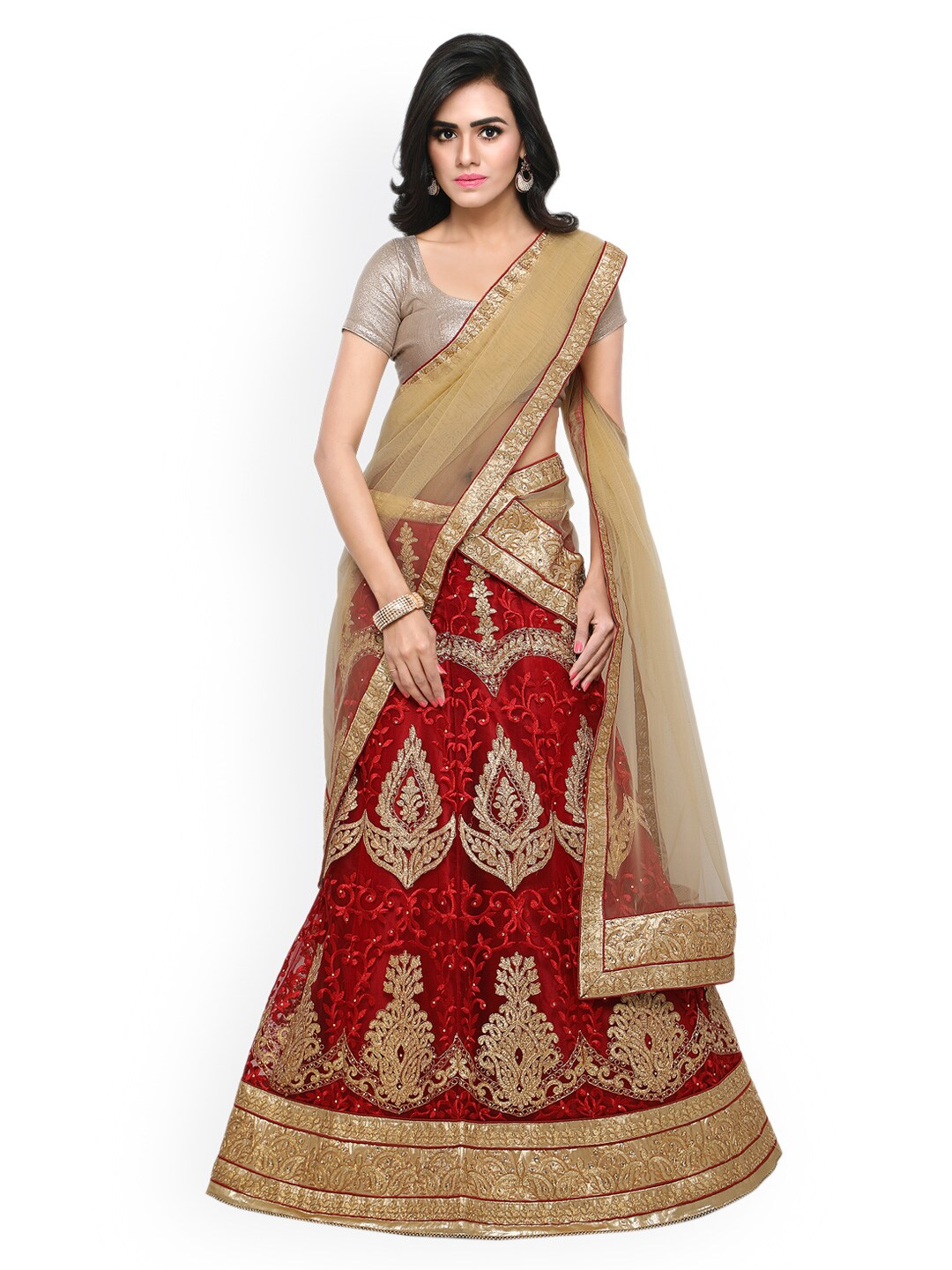 Rajesh Silk Mills Red & Beige Embroidered Unstitched Lehenga Choli with Dupatta image