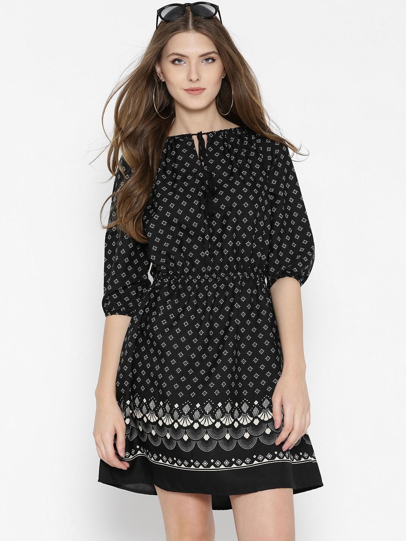 Sera Black Printed Fit & Flare Women Dress