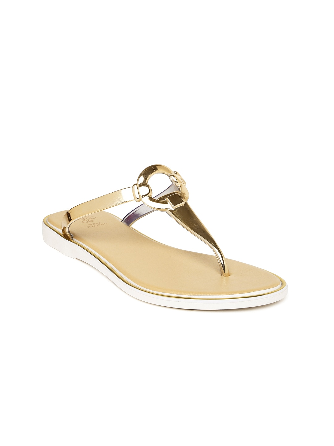 Tresmode Women Gold-Toned T-Strap Flats image