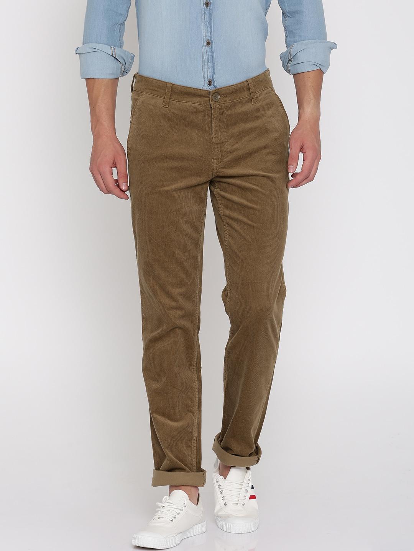 John Players Men Brown Slim Fit Corduroy Trousers image