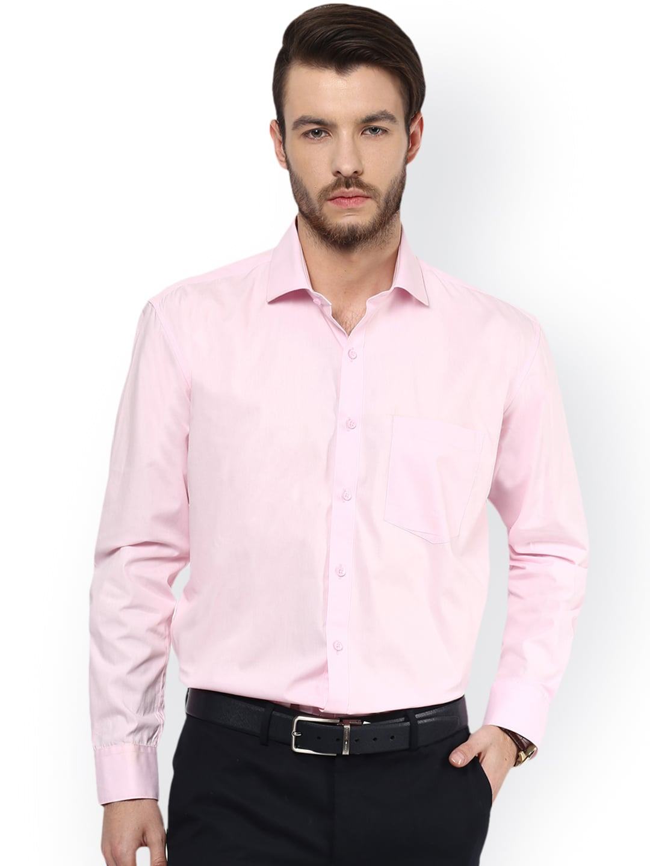 DENNISON Men Pink Comfort Regular Fit Solid Formal Shirt image