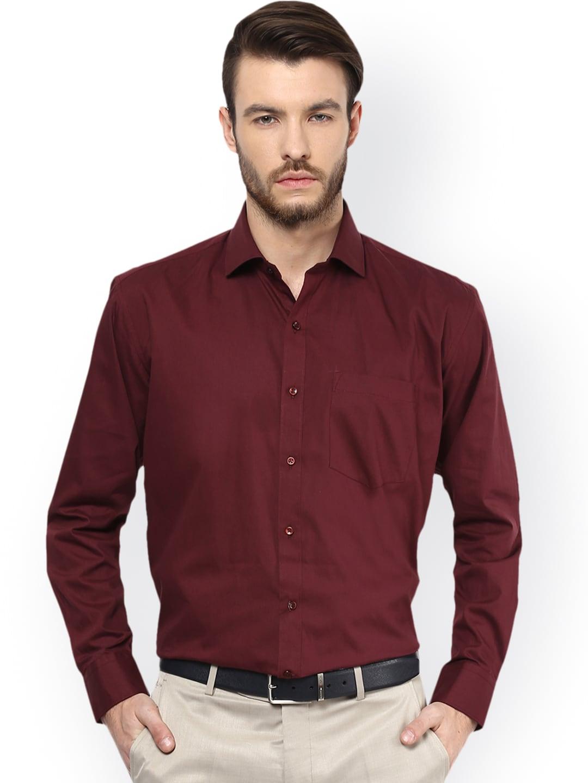 DENNISON Men Maroon Comfort Regular Fit Solid Formal Shirt image