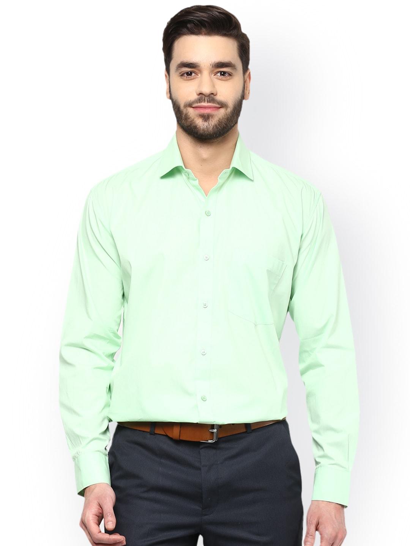 DENNISON Men Green Comfort Regular Fit Solid Formal Shirt image