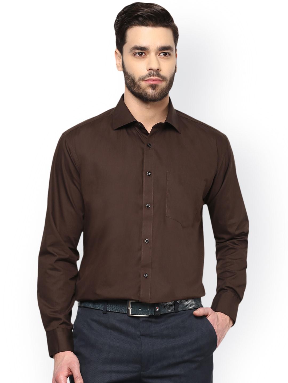 DENNISON Men Coffee Brown Comfort Regular Fit Solid Formal Shirt image