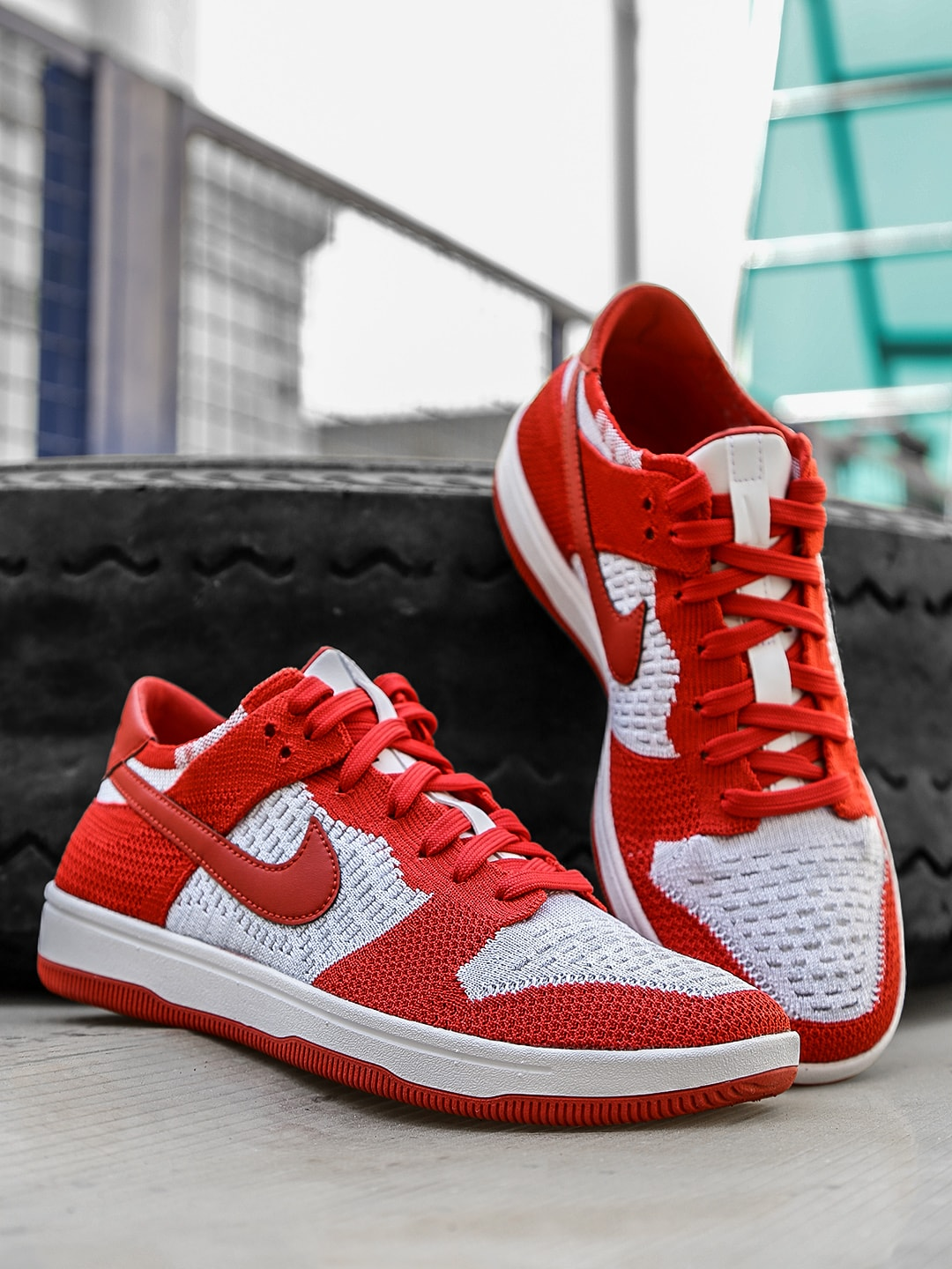 Nike Men Red & White DUNK FLYKNIT Sneakers image