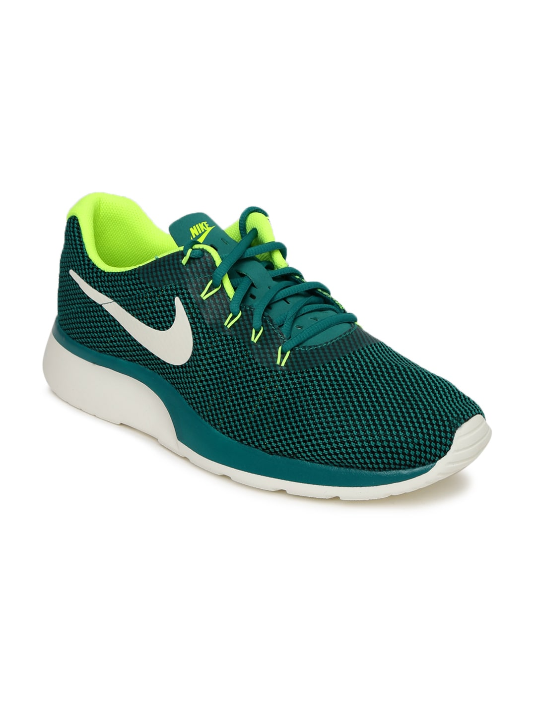 Nike Men Teal & Fluorescent Green TANJUN RACER Colourblocked Sneakers image