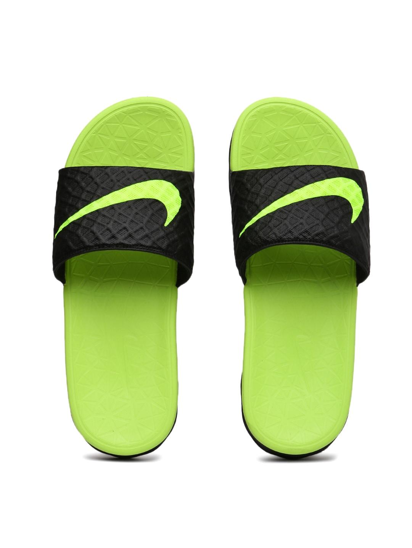 Nike Unisex Black & Green BENASSI SOLARSOFT Flip Flops image