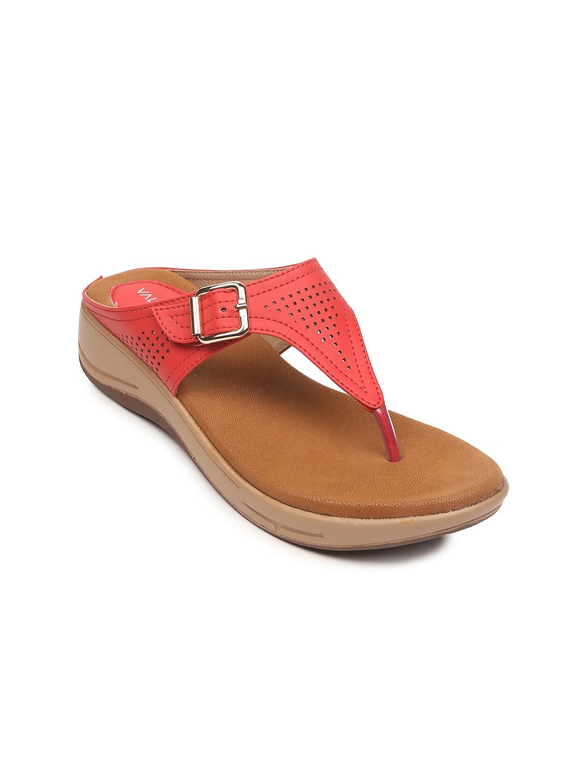 VALIOSAA Women Coral Red Comfort Heels image