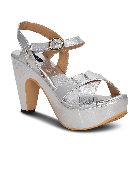 Kielz Women Silver-Toned Solid Platforms image